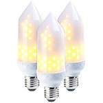 Luminea 3er-Set LED-Flammen-Lampen, realistisches Flackern, E27, 5W, 304lm, A+ Luminea LED-Flammen-Lampen (E27)