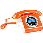 simvalley communications Schnurgebundenes Retro-Festnetztelefon, orange simvalley communications Retro Tisch-Festnetz-Telefon
