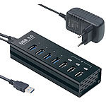 Xystec Aktiver USB-3.0-Hub mit 4 Ports & 3 Schnell-Lade-Buchsen (BC 1.2), 4 A Xystec Aktive USB-3.0-Hubs mit Schnell-Lade-Funktion