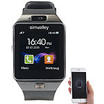 simvalley MOBILE Handy-Uhr & Smartwatch PW-430.mp mit Bluetooth 3.0 und Fotokamera simvalley MOBILE Handy-Smartwatches mit Kamera und Bluetooth