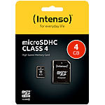 Intenso microSDHC Speicherkarte 4 GB  Class 4 inkl. SD-Adapter Intenso