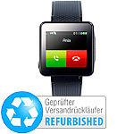 simvalley MOBILE Handy-Uhr PW-415.steel elegantes Uhrenhandy, schwarz (refurbished) simvalley MOBILE Handy-Uhren
