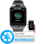 simvalley MOBILE Handy-Uhr/Smartwatch mit Kamera, Bluetooth 4.0, iOS & Android simvalley MOBILE Handy-Smartwatches mit Kameras und Bluetooth für Android und iOS