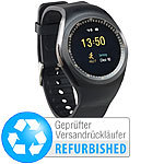 simvalley MOBILE 2in1-Uhren-Handy & Smartwatch für Android (Versandrückläufer) simvalley MOBILE Handy-Smartwatches mit Bluetooth