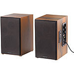 auvisio Aktives Stereo-Regallautsprecher-Set im Holz-Gehäuse mit Bluetooth auvisio Aktive Stereo-Regallautsprecher-Set mit Bluetooth und USB-Ladeports