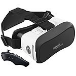 auvisio Virtual-Reality-Brille mit Bluetooth und 2in1-Mini-Game-Controller auvisio Virtual-Reality-Brillen für Smartphones