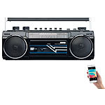 auvisio Retro-Boombox mit Kassetten-Player, Radio, USB, SD & Bluetooth, 8 Watt auvisio