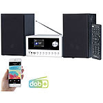 auvisio Micro-Stereoanlage mit Webradio, DAB+, FM, CD, Bluetooth, USB, 100 W auvisio DAB-Internetradios mit CD-Player und Bluetooth