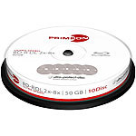PRIMEON BD-R DL 50GB, 2-8x Ultra Speed, 10-er Cakebox PRIMEON Blu-Ray-Rohlinge