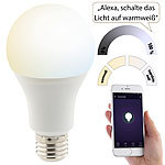 Luminea Home Control WLAN-LED-Lampe, für Alexa, Siri & Google Assistant, E27, 1.050 lm, CCT Luminea Home Control