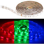 Luminea RGB-LED-Streifen LAC-206, 2 m, 60 LEDs, dimmbar, IP44 Luminea WLAN-LED-Streifen-Sets in RGB