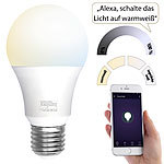 Luminea Home Control WLAN-LED-Lampe, E27, 800 lm, für Amazon Alexa & Google Assistant, CCT Luminea Home Control WLAN-LED-Lampen E27 weiß