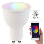 Luminea Home Control WLAN-LED-Lampe, komp. mit Amazon Alexa & Google Assistant, GU10, RGB+W Luminea Home Control RGBW-GU10-LED-Lampen, kompatibel zu Amazon Alexa & Google Assistant
