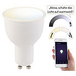 Luminea Home Control WLAN-LED-Lampe, komp. zu Amazon Alexa & Google Assistant, GU10, CCT Luminea Home Control WLAN-LED-Lampen GU10 weiß