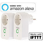 Luminea 2er-Set WLAN-Steckdosen, Amazon Alexa & Google Assistant komp., 16 A Luminea WLAN-Steckdosen mit Stromkosten-Messfunktion