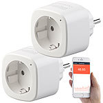 Luminea Home Control 2er-Set WLAN-Steckdosen, Amazon Alexa & Google Assistant komp., 16 A Luminea Home Control WLAN-Steckdosen mit Stromkosten-Messfunktion