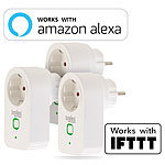 Luminea 3er-Set WLAN-Steckdosen, Amazon Alexa & Google Assistant komp., 16 A Luminea WLAN-Steckdosen mit Stromkosten-Messfunktion