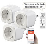 Luminea Home Control 3er-Set WLAN-Steckdosen, Amazon Alexa & Google Assistant komp., 16 A Luminea Home Control WLAN-Steckdosen mit Stromkosten-Messfunktion