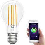 Luminea Home Control LED-Filament-Lampe, komp. zu Amazon Alexa & Google Assistant, 2700 K Luminea Home Control WLAN-LED-Filament-Lampe E27 weiß