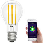 Luminea Home Control LED-Filament-Lampe, komp. zu Amazon Alexa & Google Assistant, 6500 K Luminea Home Control WLAN-LED-Filament-Lampe E27 weiß