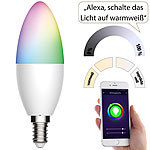 Luminea Home Control 10er-Set WLAN-LED-Lampe für Amazon Alexa/Google Assistant, E14, 5,5 W Luminea Home Control WLAN-LED-Lampen E14 RGBW