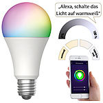 Luminea Home Control WLAN-LED-Lampe für Amazon Alexa & Google Assistant, E27, RGB, CCT, 9 W Luminea Home Control WLAN-LED-Lampen E27 RGBW