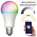 Luminea Home Control WLAN-LED-Lampe, für Amazon Alexa und Google Assistant, E27, RGBW, 15 W Luminea Home Control WLAN-LED-Lampen E27 RGBW
