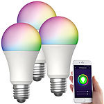 Luminea Home Control 3er-Set WLAN-LED-Lampen, für Amazon Alexa, GA, E27, RGBW, 15 W Luminea Home Control WLAN-LED-Lampen E27 RGBW