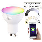 Luminea Home Control 4er-Set WLAN-LED-Spots für Amazon Alexa & GA, GU10, RGB, CCT, 5 Watt Luminea Home Control WLAN-LED-Lampen GU10 RGBW
