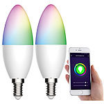 Luminea Home Control 2er-Set WLAN-LED-Lampen, für Amazon Alexa/GA, E14, RGB, CCT, 5,5 W Luminea Home Control WLAN-LED-Lampen E14 RGBW