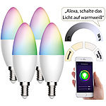 Luminea Home Control 4er-Set WLAN-LED-Lampen, für Amazon Alexa/GA, E14, RGB, CCT, 5,5 W Luminea Home Control WLAN-LED-Lampen E14 RGBW