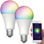 Luminea Home Control 2er-Set WLAN-LED-Lampen, für Amazon Alexa/GA, E27, RGB, CCT, 12 W Luminea Home Control WLAN-LED-Lampen E27 RGBW