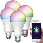 Luminea Home Control 4er-Set WLAN-LED-Lampen, für Amazon Alexa/GA, E27, RGB, CCT, 12 W Luminea Home Control WLAN-LED-Lampen E27 RGBW