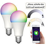 Luminea Home Control 2er-Set WLAN-LED-Lampen, für Amazon Alexa & GA, E27, RGB, CCT, 9 W Luminea Home Control WLAN-LED-Lampen E27 RGBW