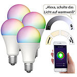 Luminea Home Control 4er-Set WLAN-LED-Lampen, für Amazon Alexa & GA, E27, RGB, CCT, 9 W Luminea Home Control WLAN-LED-Lampen E27 RGBW