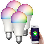 Luminea Home Control 4er-Set WLAN-LED-Lampen, für Amazon Alexa,GA, E27, RGBW, 15 W Luminea Home Control WLAN-LED-Lampen E27 RGBW