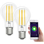 Luminea Home Control LED-Filament-Lampe, komp. zu Amazon Alexa / GA, 6500 K 2er-Set Luminea Home Control WLAN-LED-Filament-Lampe E27 weiß