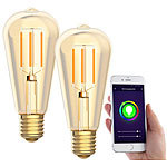 Luminea Home Control 2er-Set LED-Filament-Lampen, komp. zu Amazon Alexa & Google, 2200 K Luminea Home Control WLAN-LED-Filament-Lampe E27 weiß