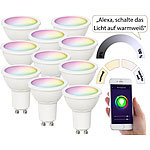 Luminea Home Control 10er-Set WLAN-LED-Spots für Amazon Alexa & GA, GU10, RGB, CCT, 5 Watt Luminea Home Control WLAN-LED-Lampen GU10 RGBW