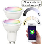 Luminea Home Control 2er-Set WLAN-LED-Spots für Amazon Alexa & GA, GU10, RGB, CCT, 5 Watt Luminea Home Control WLAN-LED-Lampen GU10 RGBW