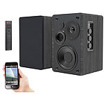 auvisio Aktives Stereo-Regallautsprecher-Set, Holz-Gehäuse, Bluetooth 5, 120 W auvisio Aktive Stereo-Regallautsprecher-Set mit Bluetooth und USB-Ladeports