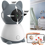 7links WLAN-Video-Babyphone, per App dreh- & schwenkbares Objektiv, Full-HD 7links WLAN-Video-Babyphone mit Pan-Tilt-Objektiv
