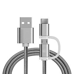 Ladekabel 2in1 USB Micro & Type C, 1 Meter, Silber-Nylon Mini-USB-Kabel
