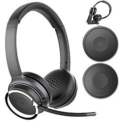Callstel Profi-Stereo-Headset mit Bluetooth 5, 18-Std.-Akku & 2in1-Ladestation Callstel Kabellose Stereo-Headsets mit Bluetooth und Ladestation
