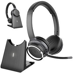 Callstel Profi-Stereo-Headset mit Bluetooth 5, 18-Std.-Akku & 2in1-Ladestation Callstel