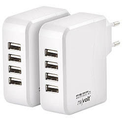 revolt 2er-Set Intelligentes 4-Port-USB-Wandnetzteil, Smart-Power-Technologie revolt