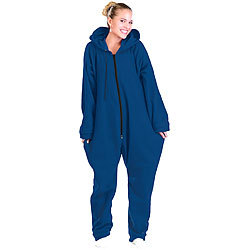 PEARL basic Jumpsuit aus flauschigem Fleece, blau, Größe L PEARL basic Jumpsuits