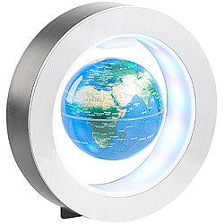 infactory Freischwebender 10-cm-Globus in Magnet-Ring mit bunter  LED-Beleuchtung ee863e5129