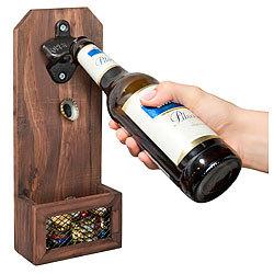 2x Metall-Flaschenöffner Bottle Opener Auffangbehälter f Kronkorken Wandmontage