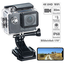 Somikon 4K-Action-Cam, UHD-Videos, 16-MP-Sensor, IP68 (Versandrückläufer) Somikon